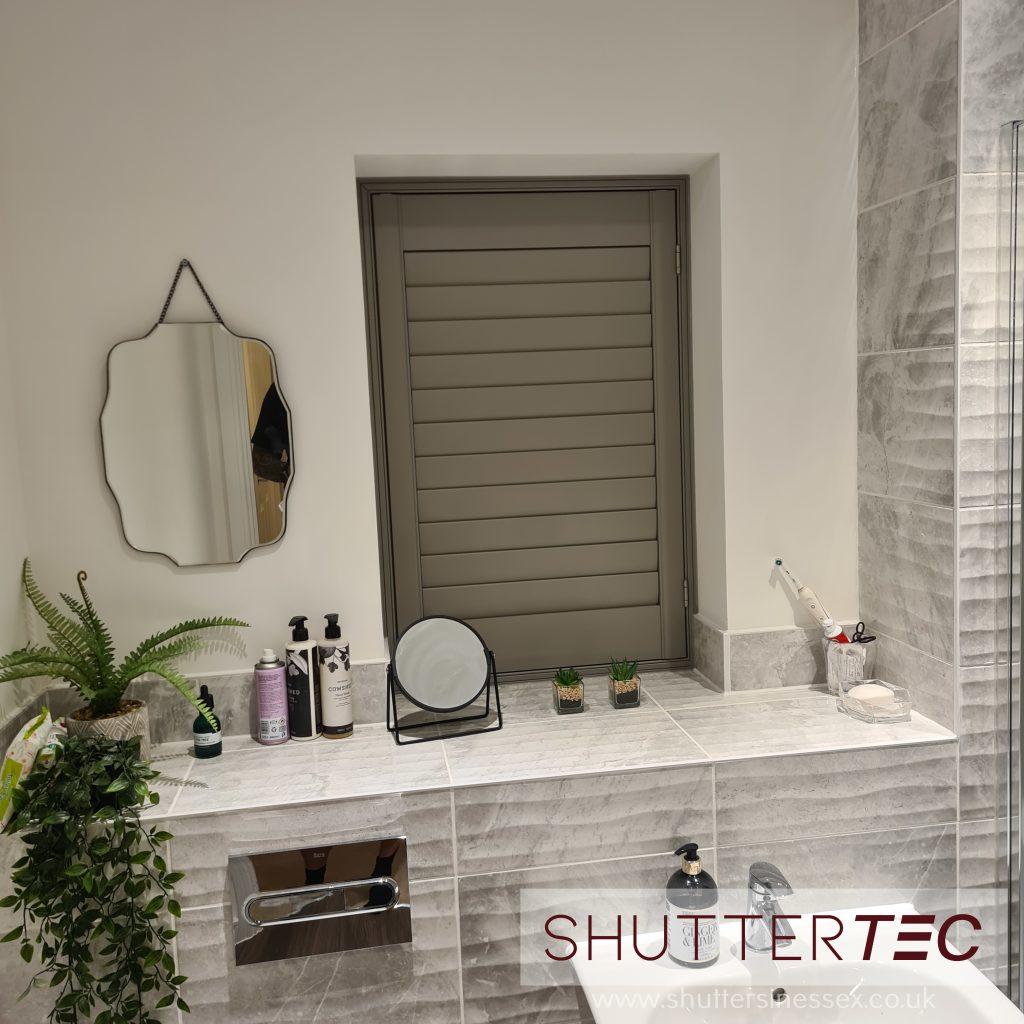 Grey bathroom shutter