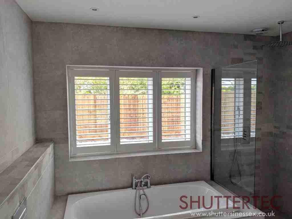 Image of shutters open above kitchen sink for Shutter tec, window shutters suppliers in Essex