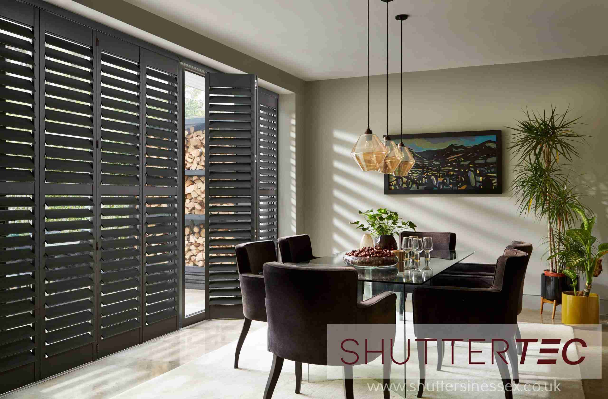 Title graphic for Shuttertec blog about shutters for patio doors
