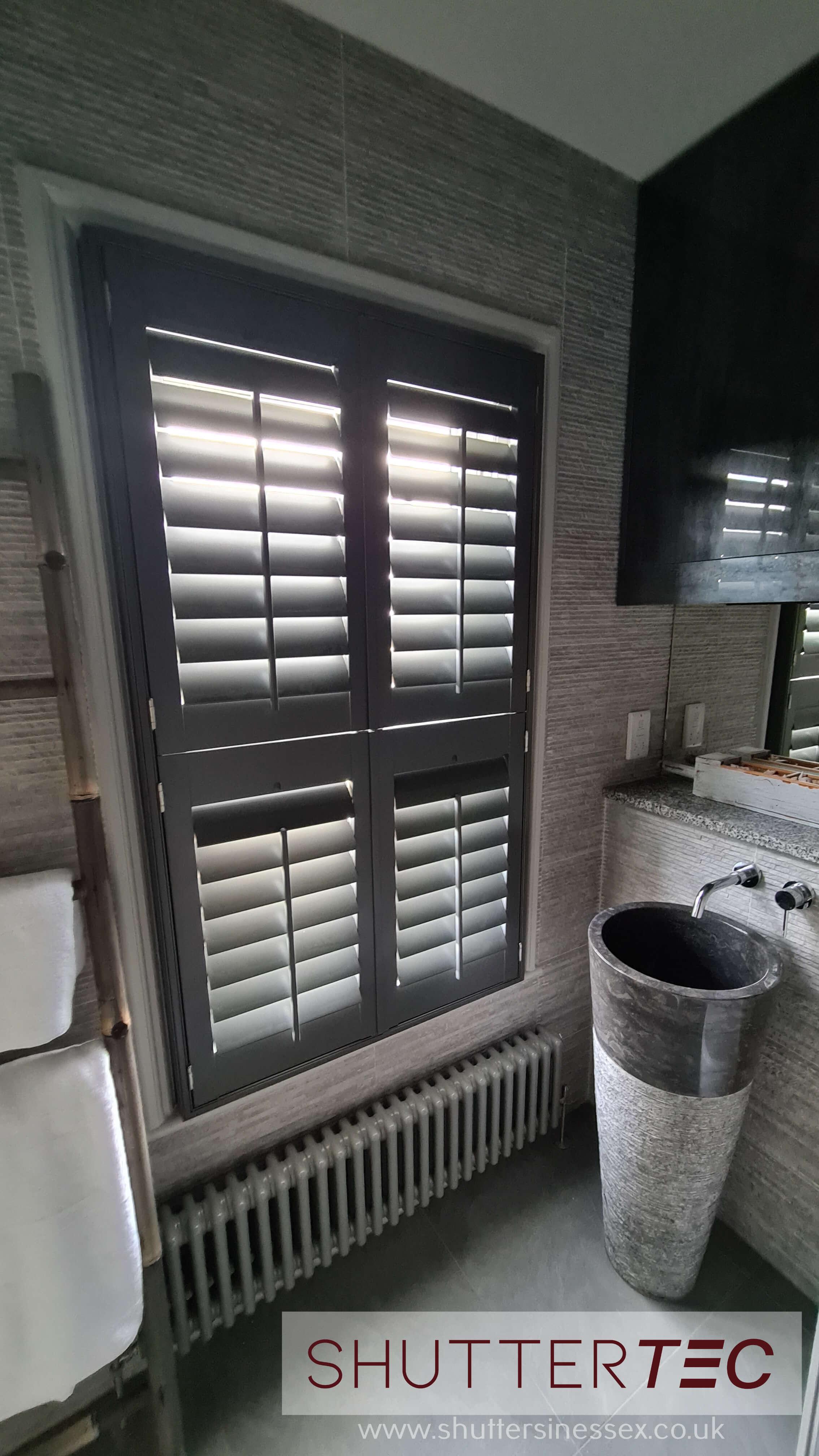 grey window shutters